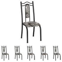 Conjunto de 6 Cadeiras 620/15 Madmelos Craquelado Dark / Folha -