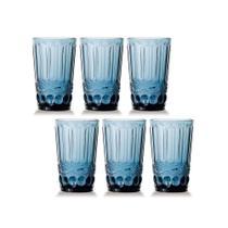 Conjunto de 6 Copos de Água Elegance - Azul 330ml - Class home