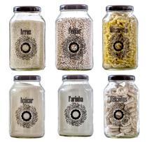 Conjunto de 6 Potes 3L (Arroz/Feijão/Macarrão/Açúcar/Farinha/Biscoito) - Fiore - Vetrolar