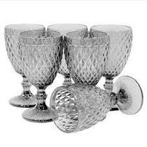 Conjunto de 6 Taças de Água em Vidro Bico de Abacaxi 300 ml Preto - Casambiente