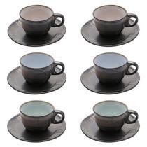 Conjunto de 6 Xícaras para Café Com Pires 90ml em Cerâmica Rustic-Bon Gourmet -