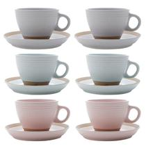Conjunto de 6 Xícaras para Chá Com Pires 200ml Cerâmica Romance-Bon Gourmet -