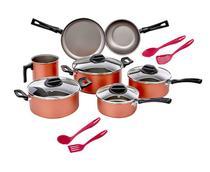 Conjunto de 7 Panelas Antiaderente Chilli + 4 Utensílios De Cozinha- Brinox -