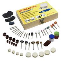 Conjunto de acesssorios para micro retifica com 100 peças estojo de madeira universal multifuncional - Makeda