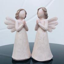 Conjunto de Anjos Rezando Decoração 15x6cm - Ef