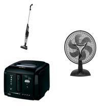 Conjunto de Aspirador de Pó, Fritadeira Elétrica e Ventilador 220V MadeiraMadeira 417215 Preto - Britânia