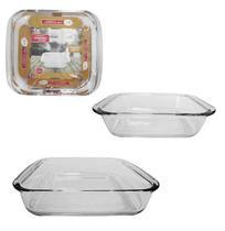 Conjunto de assadeira e travessa de vidro quadrado com 2 pecas 1100 / 1800ml - Imporiente