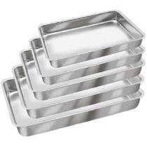 Conjunto de Assadeiras Formas Retangulares Para Bolo em Alumínio 5 Peças - Aluminio Leste