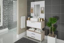 Conjunto De Banheiro Completo 60cm Balcão Painel Cuba + Garantia - Arte Cas