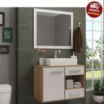 Conjunto De Banheiro Completo Personal: Balcão + Painel + Cuba- Elmo/Branco - Arte Cas