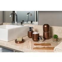 Conjunto de Banheiro Porta Escova Saboneteira Algodão Dispenser Sabonete Belly Vintage Cobre Kit 4pç - Martiplast