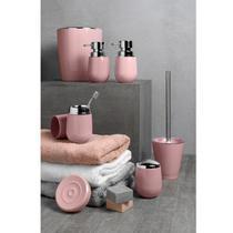 Conjunto de Banheiro Porta Escova Saboneteira Algodão Dispenser Sabonete Rosa New Belly Kit 4 peças - Martiplast