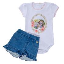 Conjunto de Bebê Body Curto e Short Jeans Babadinho - Anjos Baby