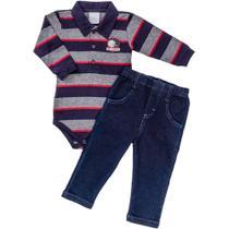 Conjunto de Bebê Body Longo e Calça Jeans Listrado - Anjos Baby