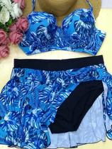 Conjunto de Biquini Plus Size de Saia Azul do 48 ao 56 - Dulce Seduccíon