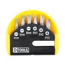 Conjunto de Bits Dtools Fenda/Phillips Com 6 Peças - D-Tools -