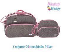 Conjunto de Bolsa G + Frasqueira Maternidade Milão Cinza/Rosa - Lilian baby