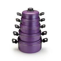 Conjunto de Caçarolas Antiaderente Roxo  5 pçs - Aluminio Nacional