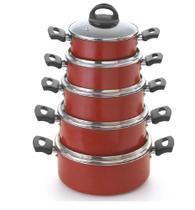 Conjunto de Caçarolas com Tampa de Vidro Rouge Plus Marcolar -