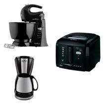 Conjunto de Cafeteira, Fritadeira Elétrica e Batedeira 127V Britânia Preto -