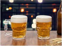 Conjunto de Caneca Vidro para Cerveja 510ml  - 2 Peças Lyor Caveira Rock Style