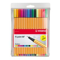 Conjunto de Canetas - Point Fineliner Neon - 88 Mini - 15 Cores - Stabilo -