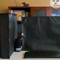 Conjunto  de Capas para Proteção do seu Computador:  Gabinete + Teclado + Monitor de  19, 20 ou 21 polegadas em TNT100 Preto - Fornecedor Mundial