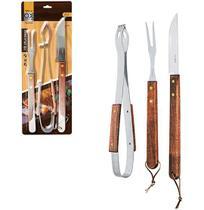 Conjunto de Churrasco com Faca 5,5'' com Garfo e Pegador de Inox Cabo de Madeira Longo Ox Prime - Wellmix