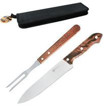 Conjunto de churrasco de inox com faca 8'' + garfo com cabo de madeira no estojo ox prime - Wellmix