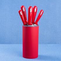 Conjunto de Facas com Cepo Pro Vermelha com 5 Peças - ETNA