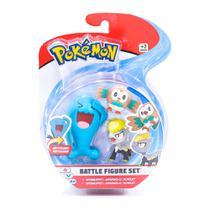 Conjunto de Figuras - Pokémon - 3 Bonecos - Battle Figure Set - Wobbuffet - Jangmo-o - Rowlet - DTC -