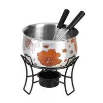Conjunto de fondue 4 peças em aço inox 1 panela de fondue 1 suporte preto esmaltado e 2 garfos Casita CA12211-1 -