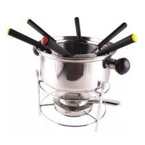 Conjunto de fondue em inox 10 peças 1 panela 1 separador de garfo 1 suporte 1 fogareiro 6 garfo Casita CA12135-1 -