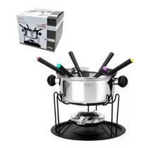 Conjunto de fondue em inox 11 peças 1 panela 1 separador 1 suporte 1 fogareiro 6 garfo 1 bandeja Casita CA12136-1 -
