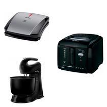 Conjunto de Grill, Fritadeira Elétrica e Batedeira 127V Britânia Preto -