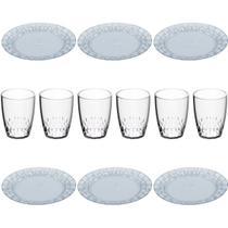 Conjunto de Jantar 12 Peças Jogo Copos Pratos Mesa Cozinha - Crippa