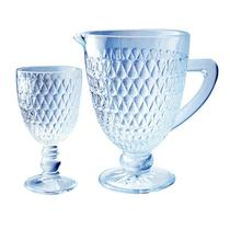 Conjunto de Jarra com 6 taças Amelie Vidro Azul Luster - Full Fit