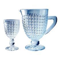 Conjunto de Jarra com 6 taças Chevalier Vidro Azul Luster - Full Fit