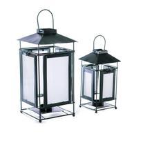 Conjunto De Lanternas Metal Preta Vidro Fosco Decorativa - Ef