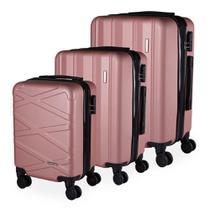 Conjunto de Malas de Viagem ABS Tóquio, Cadeado, Rodas Giro 360º, 3 Peças P/M/G - Portinari Rosê -