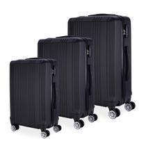 Conjunto de Malas de Viagem em ABS HT-004 Rodas Duplas Cadeado Integrado 3Pcs P/M/G Preta - Hc