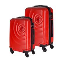 Conjunto de Malas de Viagem em ABS Star Yins Cadeado Embutido Rodas Giro 360º 2 Peças P/PP Vermelho -