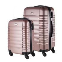 Conjunto de Malas de Viagem em ABS Yins 21046 Cadeado Integrado Rodas 360º 2Pcs P/M Rosê -
