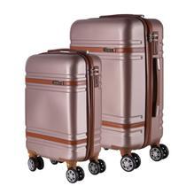 Conjunto de Malas de Viagem em ABS Yins 21068 Rodas Duplas Cadeado Integrado 2Pcs PP/P - Rosê -