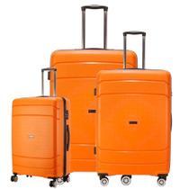 Conjunto de Malas de Viagem em POLIPROPILENO Londres Rodas Duplas, TSA GoSuper 3 Pcs P/M/G Laranja -