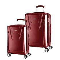 Conjunto de Malas de Viagem Expansível Policarbonato SAMSONITE Derby Cadeado TSA 2Pcs P/M Vermelha -