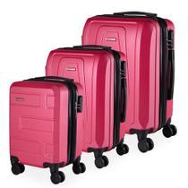 Conjunto de Malas de Viagem Moscou em ABS Swiss Portinari com Rodinhas Giro 360º 3 Peças Rosa -