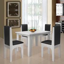 Conjunto De Mesa 1,20 M Com 4 Cadeiras Miami Dobuê Branco Preto -