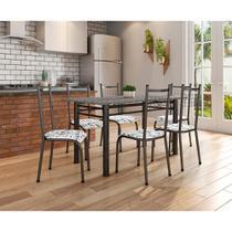Conjunto de Mesa 1,50m Tampo de Granito com 6 Cadeiras Lisboa Preto com Tecido Branco Floral - Fabone