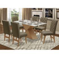 Conjunto de Mesa 180 x 90 com Vidro e 6 Cadeiras Estofadas Dallas Dobuê - Dobue